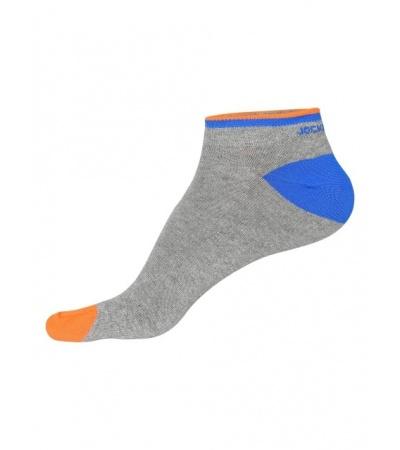 Jockey Grey Melange & Neon Orange Men Low Show Socks