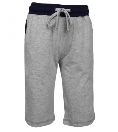 Jockey Grey Melange & Navy Boys Knit Shorts