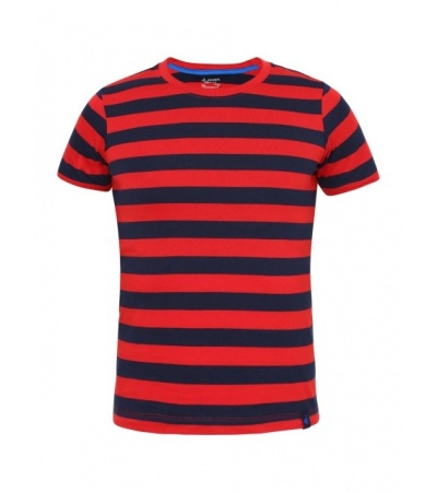 Jockey Wordly Red & Navy Boys Striped T-Shirt