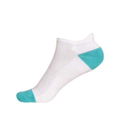 Jockey White & Paradise Teal Women Low Ankle Socks