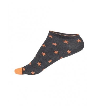 Jockey Charcoal Melange Printed Low Ankle Socks Pack of 2