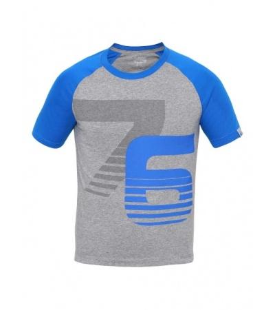 Jockey Grey Melange & Neon Blue Print26 Boys Raglan Printed T-Shirt