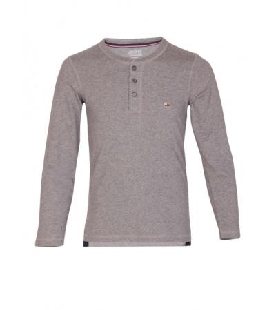 Jockey Grey Melange Boys Henley T-Shirt Long Sleeve
