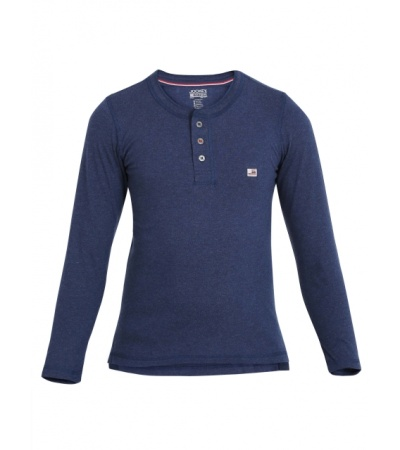 Jockey Ink Blue Melange Boys Henley T-Shirt Long Sleeve