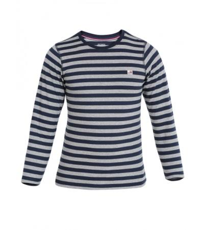 Jockey Navy & Grey Melange Boys Crew Neck T-Shirt Long Sleeve